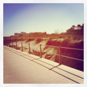 The brand new boardwalk, and beautiful homes along the beach.