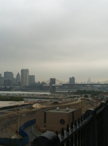 Manhattan skyline in the rain